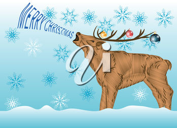 Christmas Reindeer with Snowflakes