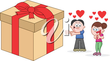 Clip Art Illustration of a Boy Giving a Gift