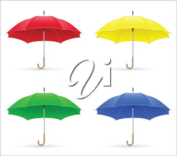 Four Brightly Coloured Umbrellas
