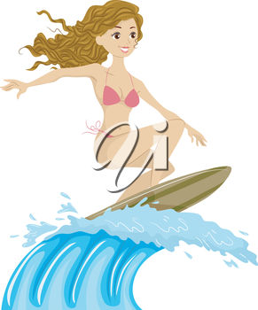 Girl Surfing on a Giant Wave