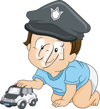 Boy Wearing a Police Hat