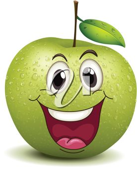 A cartoon green apple with a big smile