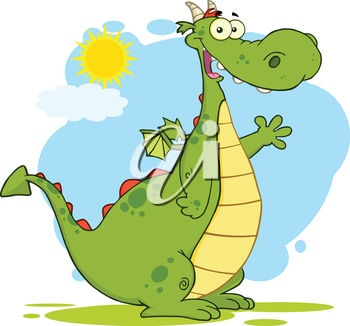 An illustration of a cartoon dragon