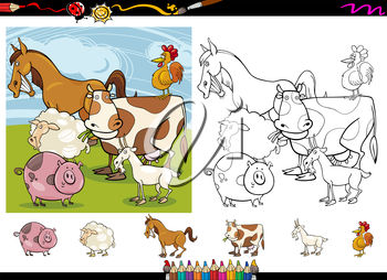 Cartoon farm animals in black and white and colour