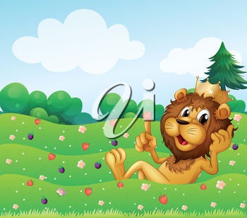 A cartoon lion sitting on grass