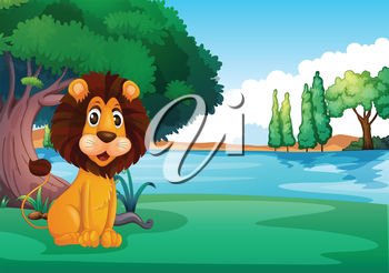A cartoon lion sitting on grass beside water