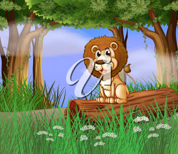 A cartoon lion sitting on a lot in the long grass