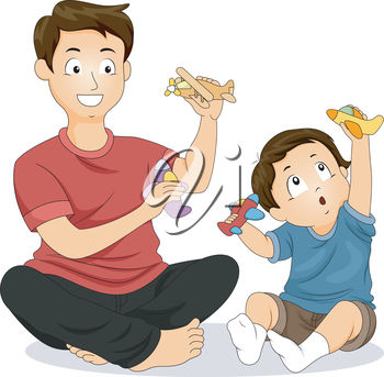 An illustration of a man and a little boy playing with toys