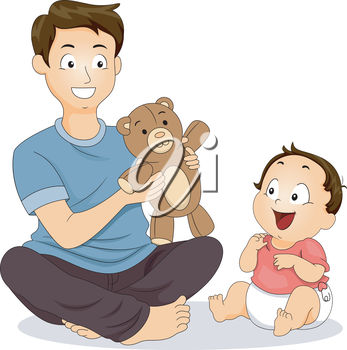 An illustration of a man holding a teddy bear while playing with his son