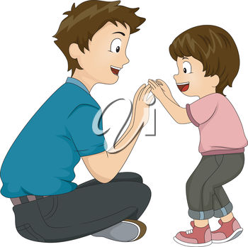 An illustration of a young man playing with a little boy