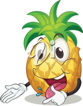 An illustration of a smiling pineapple