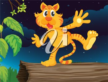 A cartoon illustration of a tiger