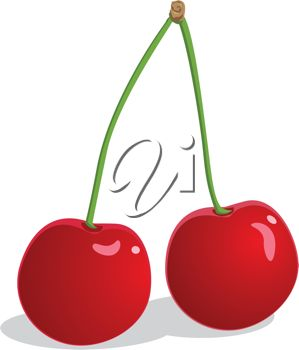 An illustration of two cherries joined at the stem
