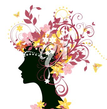 A silhouetted woman in profile with flowers and butterflies