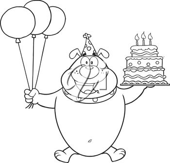 A cartoon of a bear holding a birthday cake and balloons
