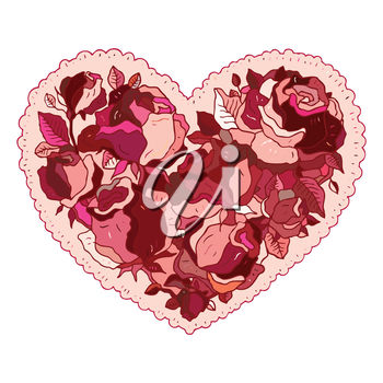 An illustration of a rose heart valentine