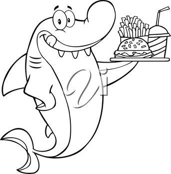 A shark with fast food