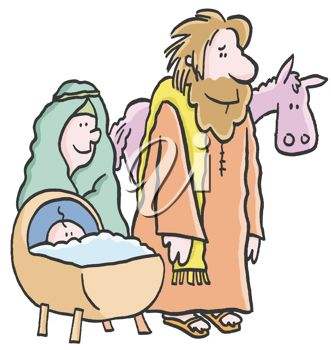 Mary and joseph with baby jesus in front of a donkey