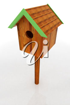 A wooden birdhouse