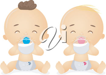 Two Babies Drinking from Baby Bottles