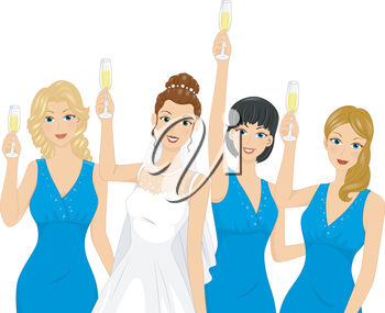 A bridal party toasting