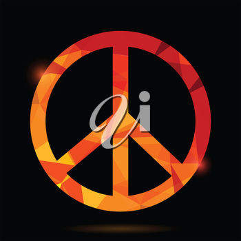A peace symbol on a black background