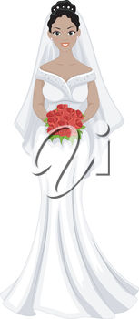 A bride with a bouquet