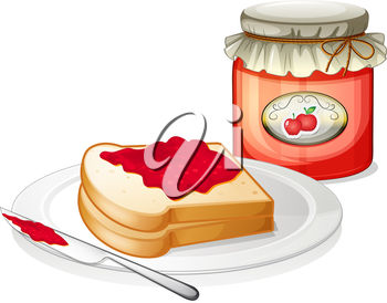 A jar of fruit jam and bread on a plate