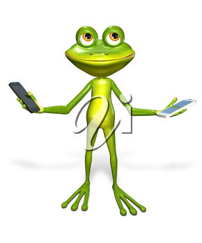 A 3D frog and cellphone