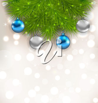 A background with pine and ornaments