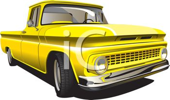 An old yellow pickup truck