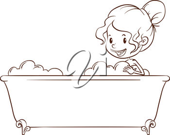 Clipart Illustration Of A Child In A Bathtub