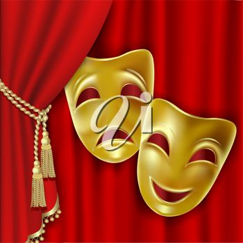 Two gold masks on a red curtain