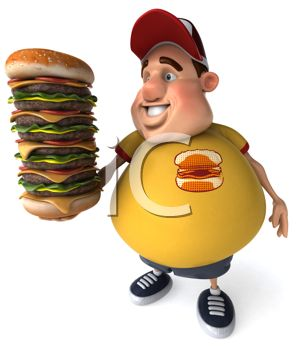 A smiling man pointing at a cheeseburger