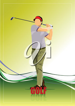 A man on a golfing background