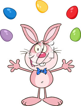 The easter bunny is juggling eggs