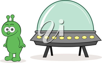 An alien and a ufo
