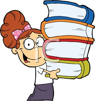 A girl carrying books