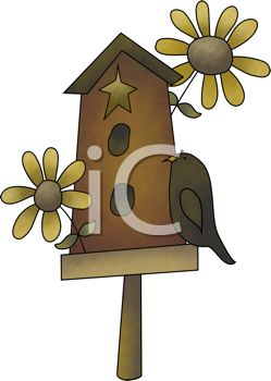 A birdhouse with flowers