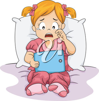 Clipart Illustration of a Child Crying and Reading in Bed