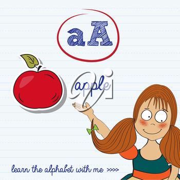 A girl and the letter a