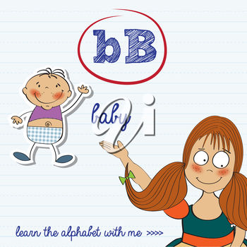 A girl and the letter b