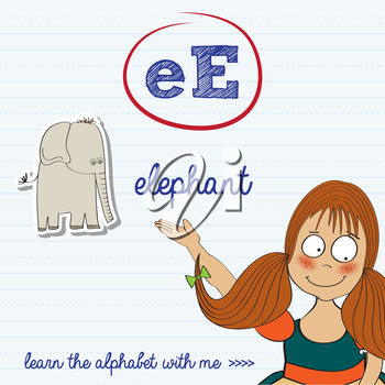 A girl and the letter e