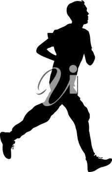 A silhouette of a runner