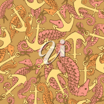 A group of seahorses on a background