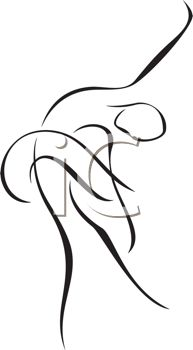 An outline of a dancer