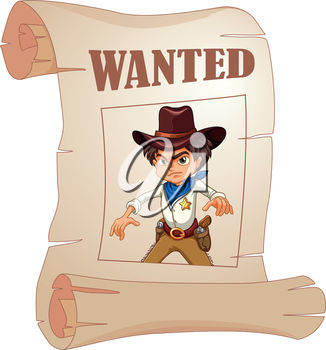A cartoon wanted poster