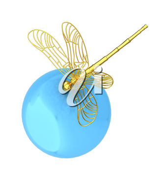 A dragonfly and globe