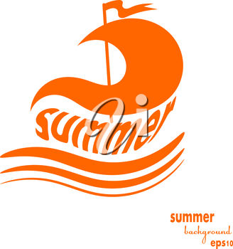 The word summer in a sailboat