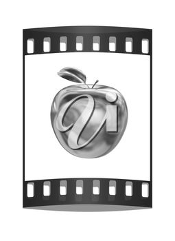 A film strip with an apple
